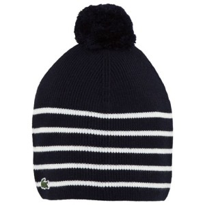 Girls Navy and White Stripe Hat Lacoste