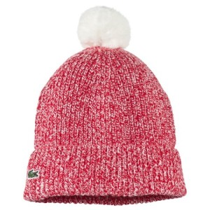 Girls Pink Marl Knitted Pom-Pom Hat Lacoste