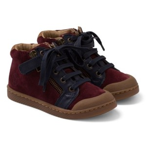 Boys 10 IS Burgundy Suede and Leather Hi-Tops
