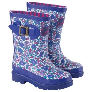 Joules Ditsy Violet Floral Wellies girls