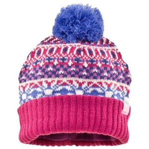 Girls Knitted Pink Multi Fair Isle Hat Joules