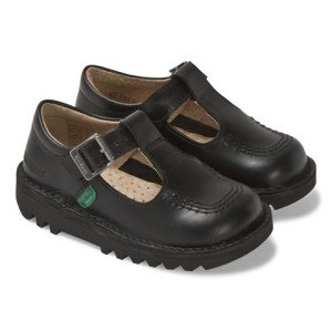 Kickers Black Kick T Bar School Shoes girls