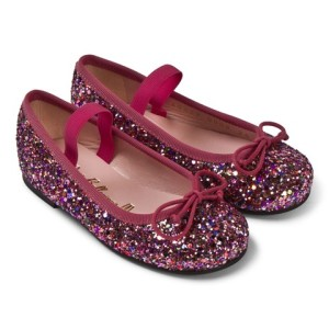 Pretty Ballerinas Fuchsia Glitter Ballet Pumps girls
