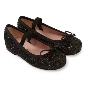 Pretty Ballerinas Hannah Black Glitter Pumps girls