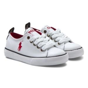 Boys Ralph Lauren White Falmouth Low Leather Lace Trainer