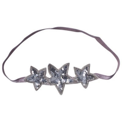 Girls Silver and Mauve Sequin Star Headband ilovegorgeous