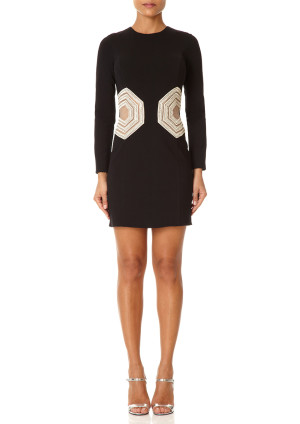 Forever Unique BLITHE - Black Fitted Dress with Full Sleeves