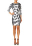 Forever Unique FONDA - Zebra Print Bodycon Dress with 3/4 Sleeves