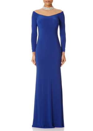 Forever Unique GLORIA - Blue Fishtail Maxi Dress with Embellished Collar