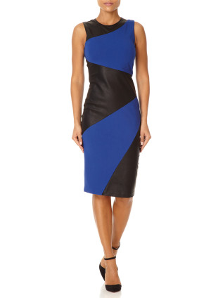 Forever Unique MAEVE - Blue and Black Sleeveless Pencil Dress