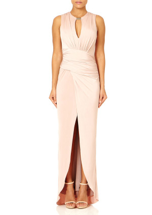 Forever Unique ROSEMARY - Nude Plunge Neck Maxi Dress