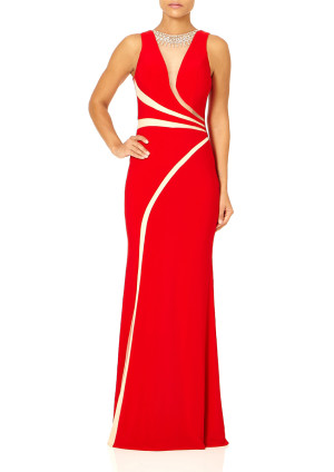 Forever Unique SEPHORA - Red Maxi Dress with Embellishment Detail