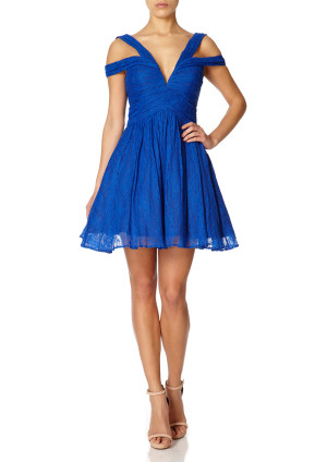 Forever Unique TANSY - Sax Blue Off the Shoulder Lace Prom Dress