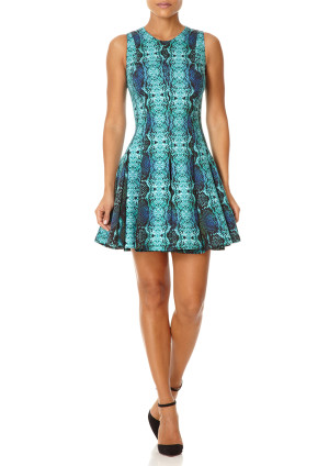 Forever Unique VIXEN - Emerald Green Snake Pattern Print Fit and Flare Dress