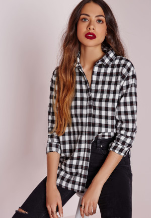 Missguided Boyfriend Checked Shirt Monochrome, White women