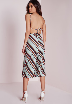 Missguided Candy Stripe Culotte Jumpsuit Blue, Grey women-