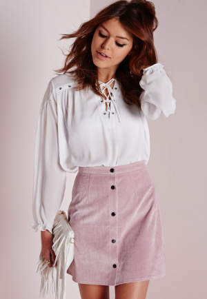 Missguided Cord Button Through A Line Skirt Mauve, Mauve