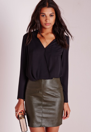 Missguided Faux Leather Mini Skirt Khaki, beige
