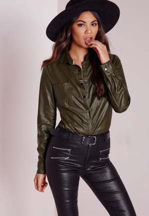 Missguided Faux Leather Shirt Khaki, beige women