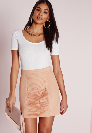 Missguided Faux Suede Slash Front Mini Skirt Nude, Peach
