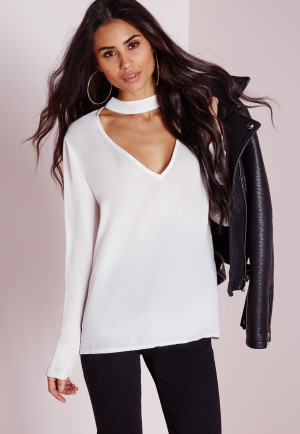 Missguided High Neck Plunge Cut Out Blouse White, White women