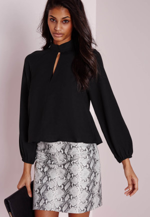 Missguided Keyhole Pintuck Blouse Black, Black women