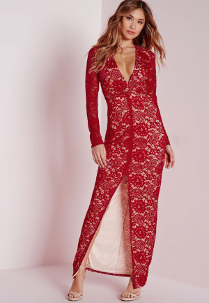 Missguided Lace Long Sleeve Maxi Dress Red, Red women