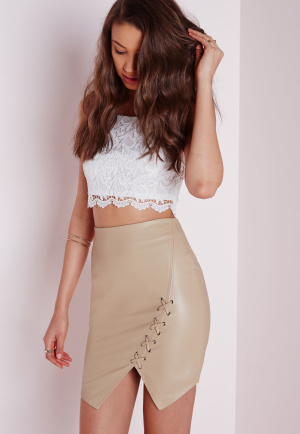 Missguided Lace Up Faux Leather Mini Skirt Tan, Brown