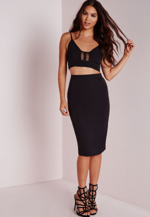 Missguided Ladder Trim Midi Skirt Black, Black