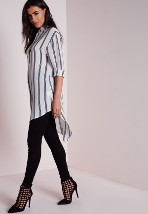 Missguided Longline Striped Blouse White, White women