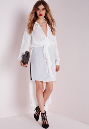 Missguided Maxi Tie Wrap Blouse White, White women