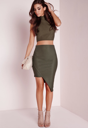 Missguided Petite Asymmetric Skirt Khaki, beige