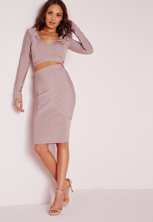 Missguided Ribbed Bandage Midi Skirt Mauve, Mauve