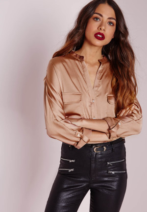 Missguided Silky Shirt Champagne, Mauve women