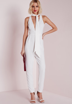 Missguided Skinny Neck Tie Jumpsuit White, White women-