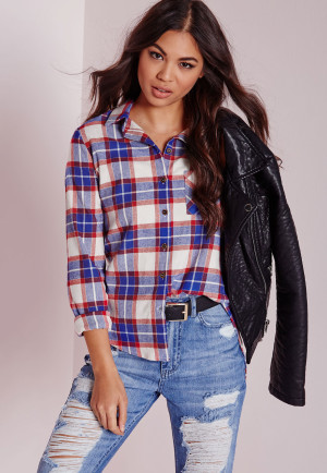 Missguided Slim Checked Shirt Red/Blue, Red women