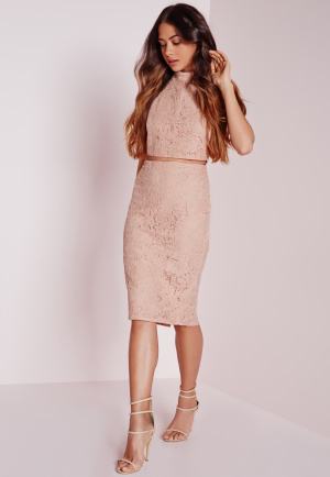 Missguided Split Front Lace Midi Skirt Blush, Pink