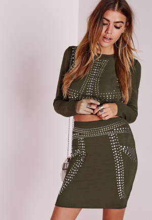 Missguided Stud Detail Mini Skirt Khaki, beige
