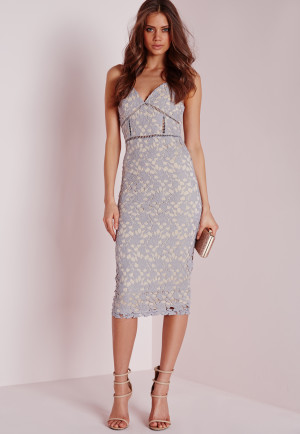 Missguided Tall Exclusive Strappy Lace Midi Dress Grey, Grey women