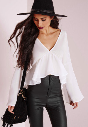 Missguided Tie Back Romance Blouse White, White women