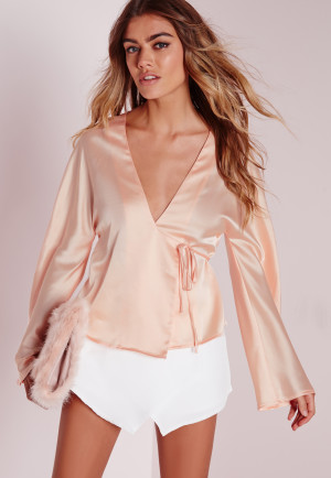 Missguided Tie Front Satin Blouse Nude, Beige women
