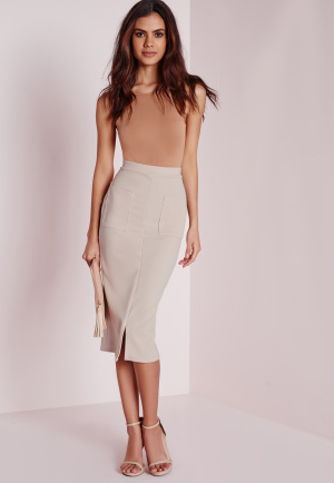 Missguided Utility Pocket Front Midi Skirt Taupe, Grey