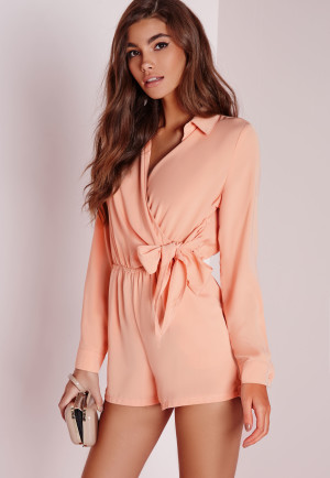 Missguided Wrap Front Shirt Playsuit Nude, Beige women
