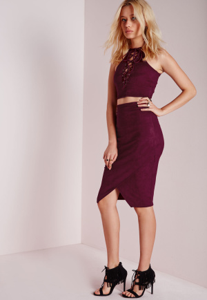 Missguided Wrap Over Faux Suede Midi Skirt Burgundy, Burgundy