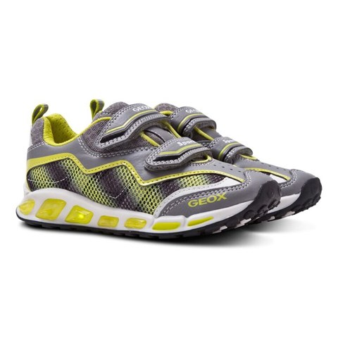 Geox Boys' Grey and Lime Shuttle Light Up Trainers in Grey